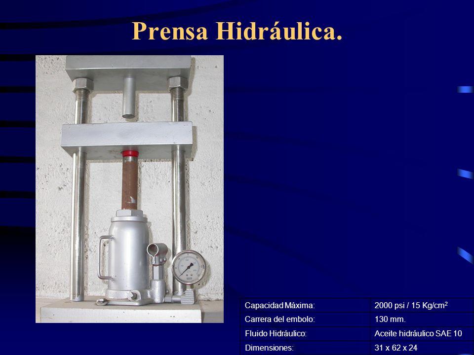 Prensa Hidráulica. Capacidad Máxima: 2000 psi / 15 Kg/cm2