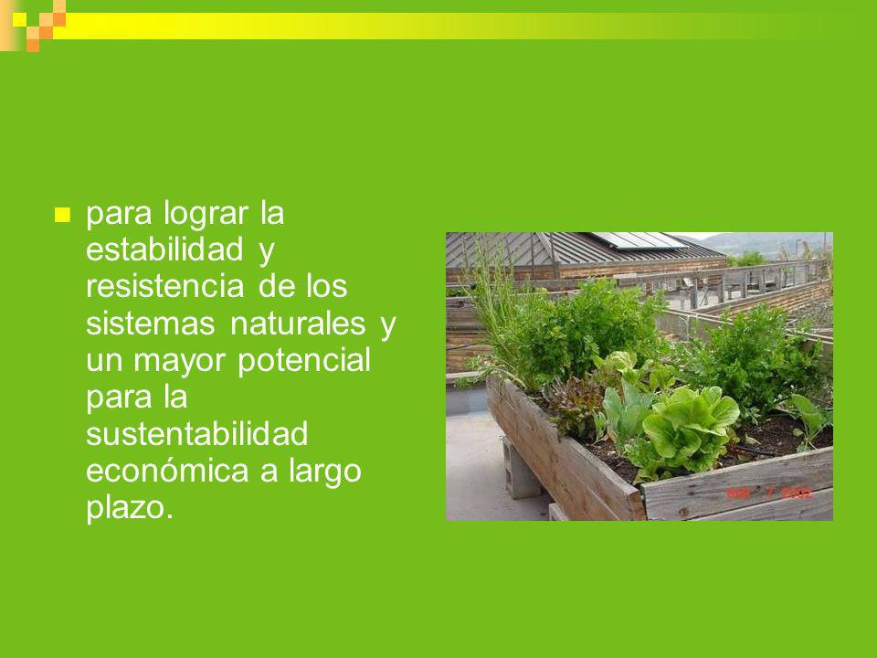 para lograr la estabilidad y resistencia de los sistemas naturales y un mayor potencial para la sustentabilidad económica a largo plazo.