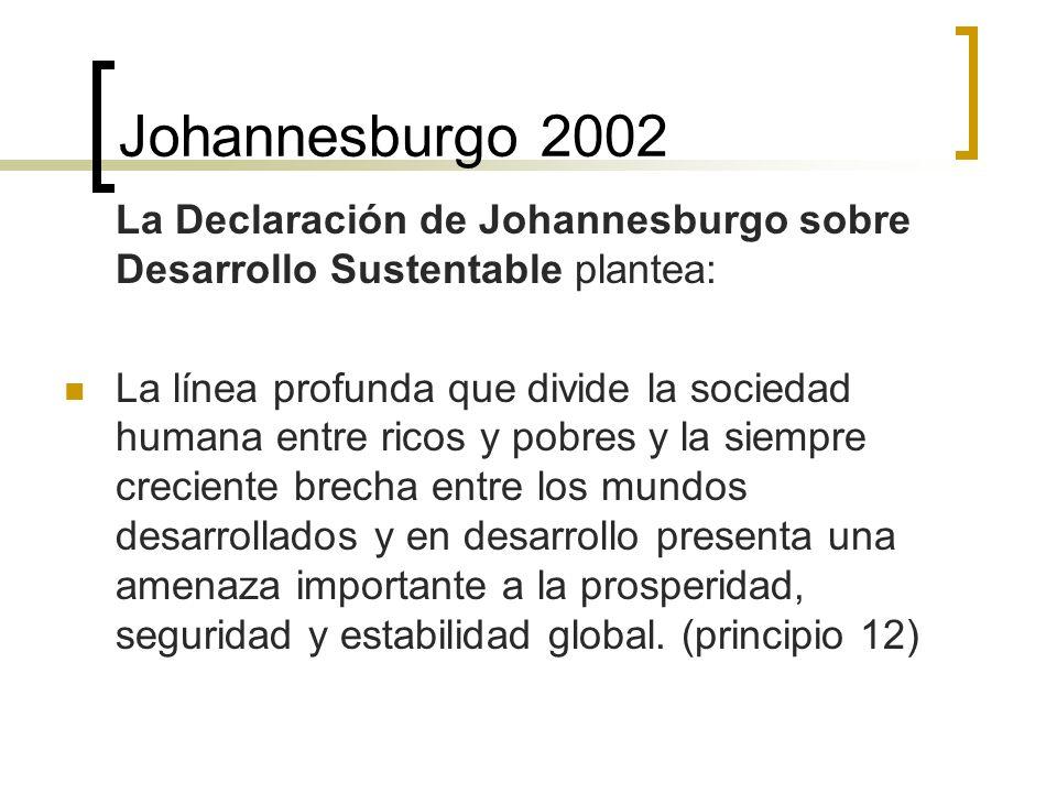 Johannesburgo 2002 La Declaración de Johannesburgo sobre Desarrollo Sustentable plantea: