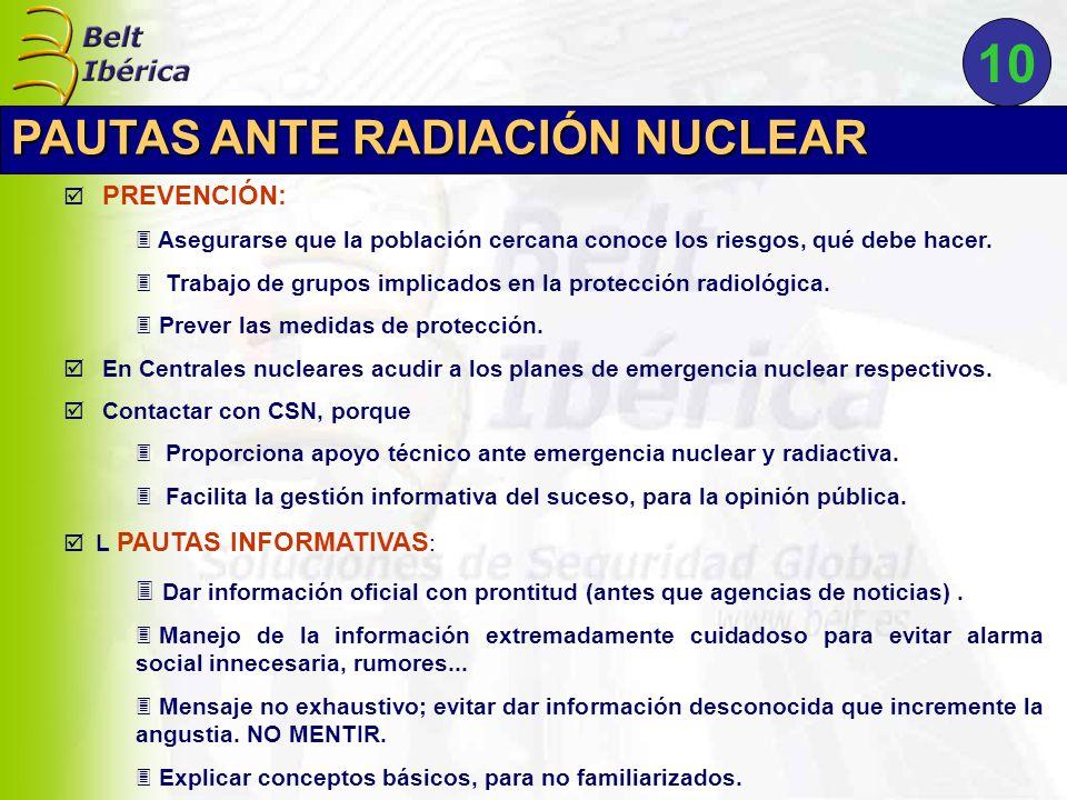 10 PAUTAS ANTE RADIACIÓN NUCLEAR