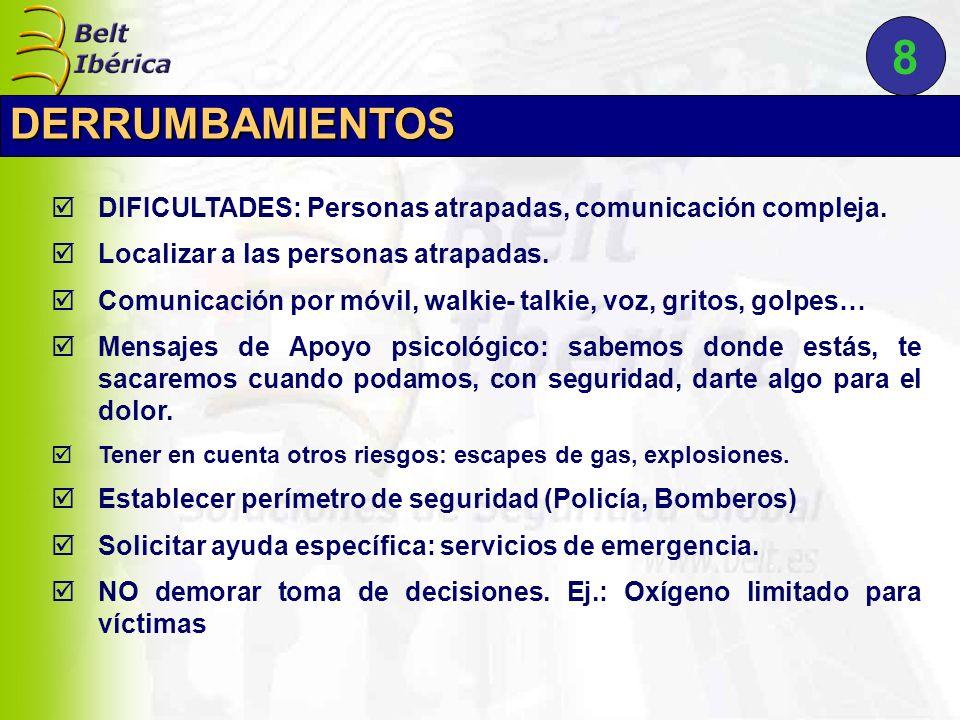 8 DERRUMBAMIENTOS. DIFICULTADES: Personas atrapadas, comunicación compleja. Localizar a las personas atrapadas.