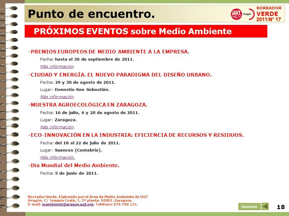 Punto de encuentro. PRÓXIMOS EVENTOS sobre Medio Ambiente 2011/Nº 17
