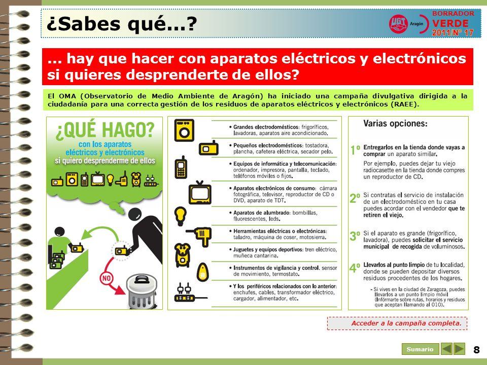 ¿Sabes qué... BORRADOR VERDE. 2011/Nº 17. ... hay que hacer con aparatos eléctricos y electrónicos si quieres desprenderte de ellos