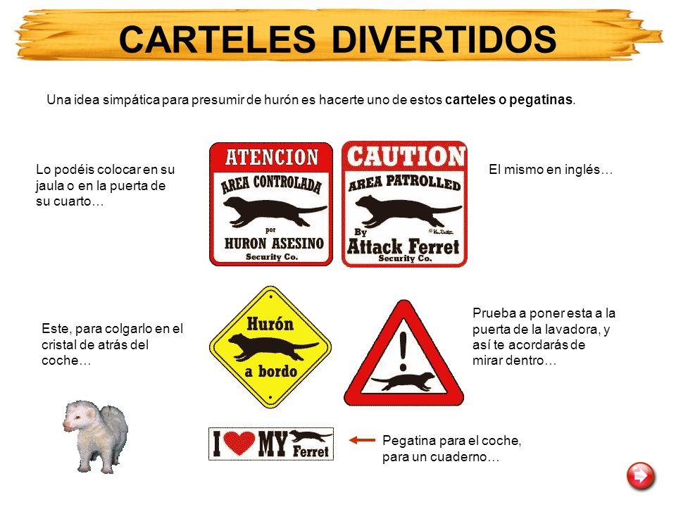 CARTELES DIVERTIDOS Una idea simpática para presumir de hurón es hacerte uno de estos carteles o pegatinas.
