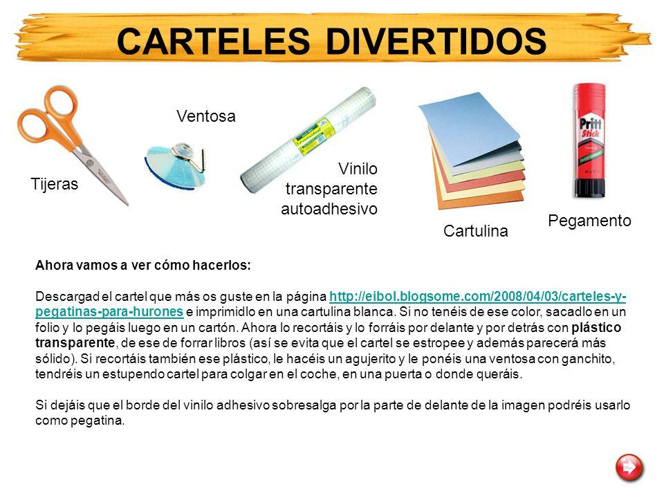 CARTELES DIVERTIDOS Ventosa Vinilo transparente autoadhesivo Tijeras