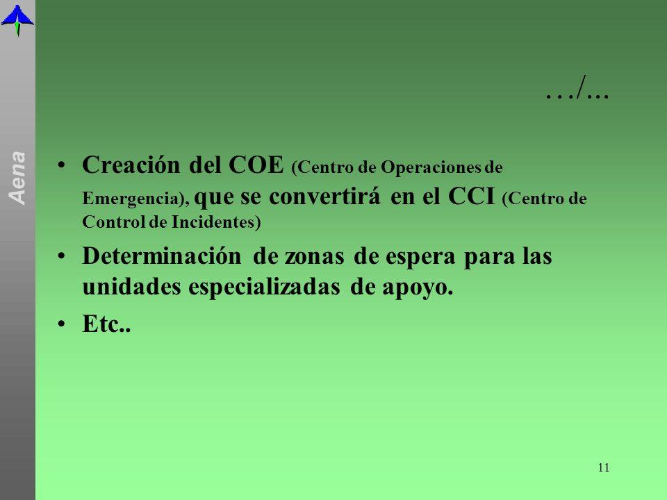 …/... Creación del COE (Centro de Operaciones de Emergencia), que se convertirá en el CCI (Centro de Control de Incidentes)