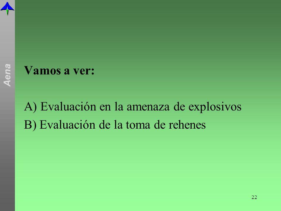 Vamos a ver: A) Evaluación en la amenaza de explosivos B) Evaluación de la toma de rehenes