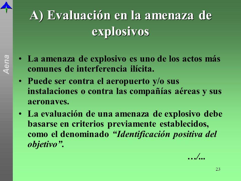 A) Evaluación en la amenaza de explosivos