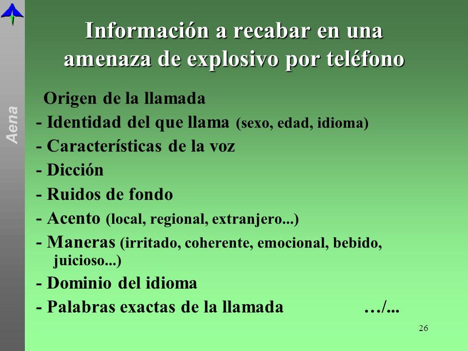 Información a recabar en una amenaza de explosivo por teléfono