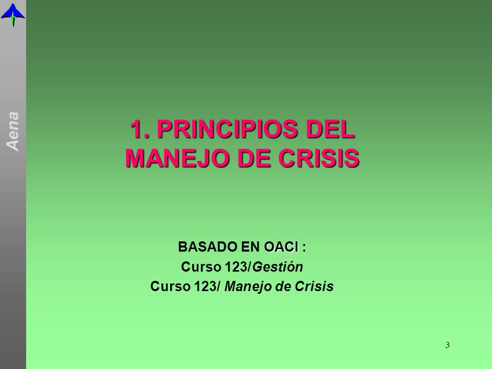 1. PRINCIPIOS DEL MANEJO DE CRISIS Curso 123/ Manejo de Crisis