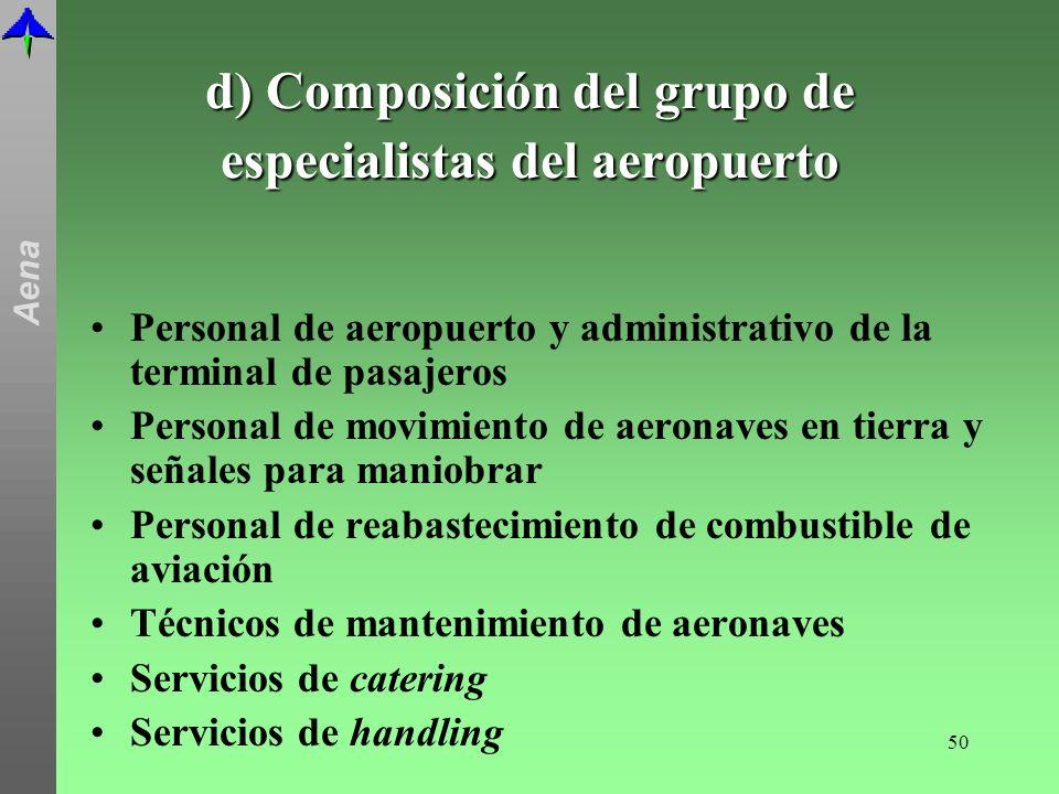 d) Composición del grupo de especialistas del aeropuerto
