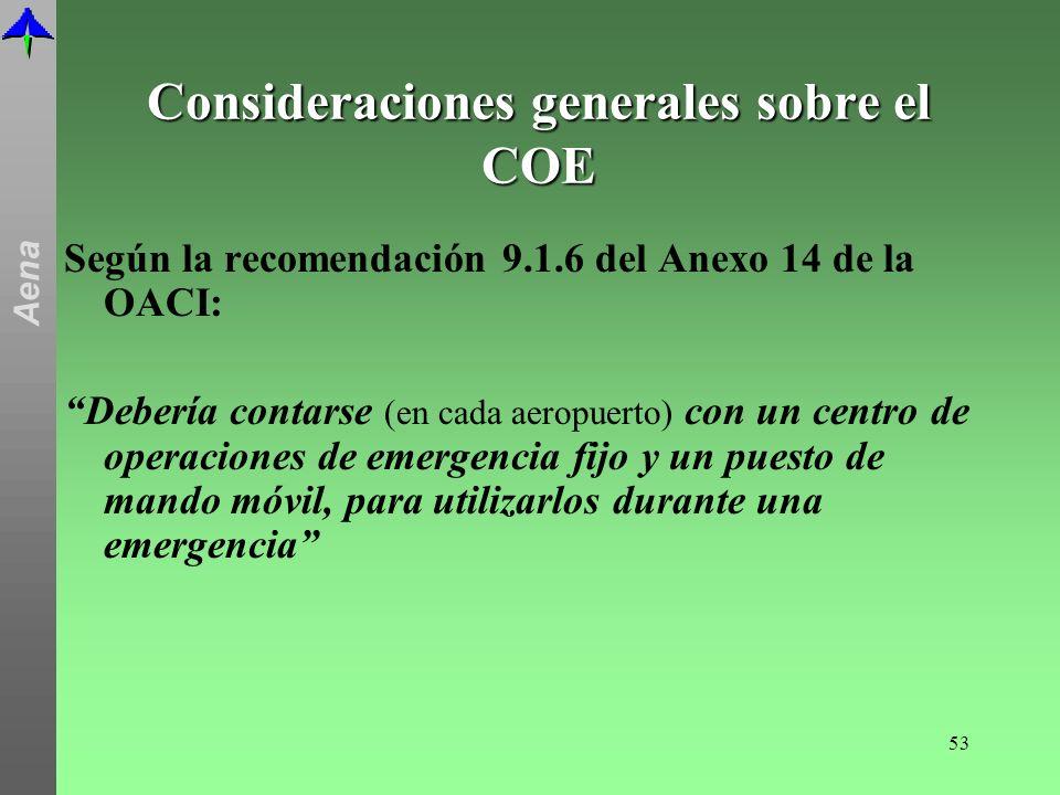 Consideraciones generales sobre el COE
