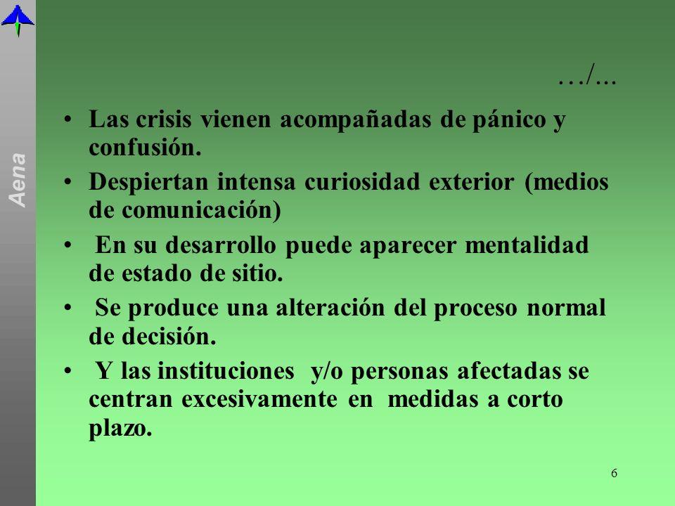 …/... Las crisis vienen acompañadas de pánico y confusión.
