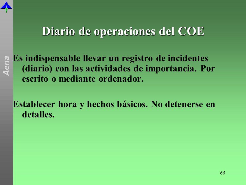 Diario de operaciones del COE