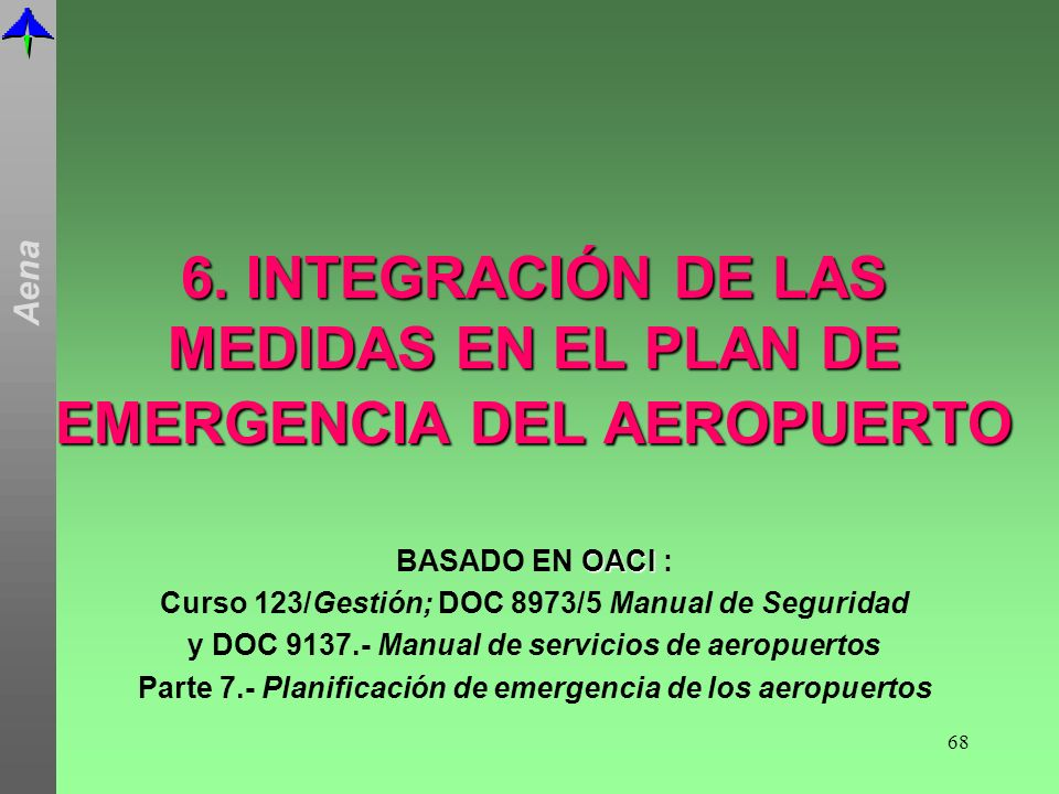 6. INTEGRACIÓN DE LAS MEDIDAS EN EL PLAN DE EMERGENCIA DEL AEROPUERTO