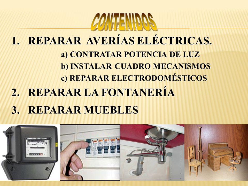 CONTENIDOS 1. REPARAR AVERÍAS ELÉCTRICAS. 2. REPARAR LA FONTANERÍA