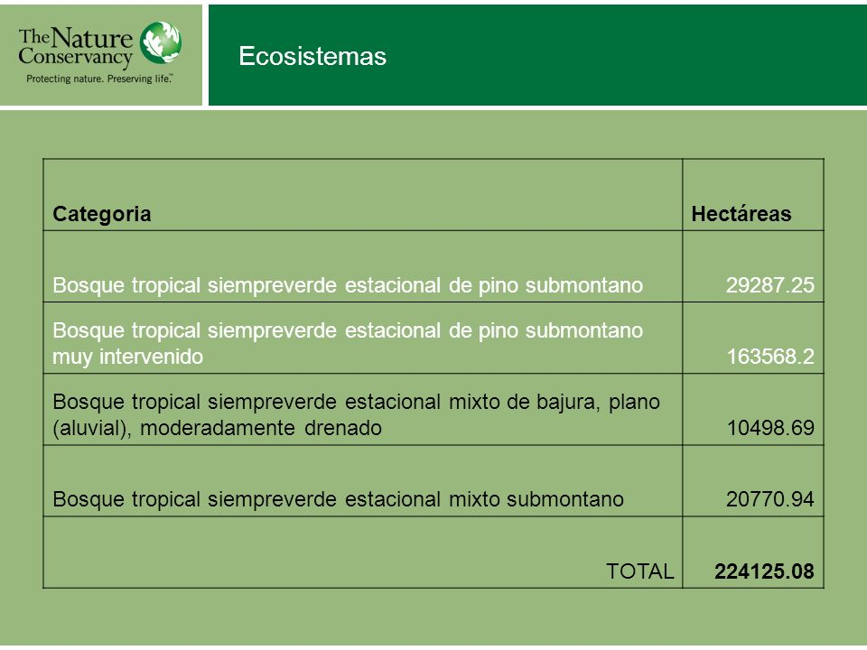 Ecosistemas Categoria Hectáreas