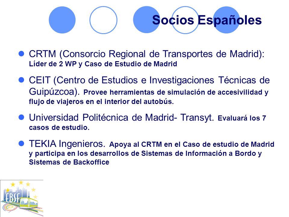 Socios Españoles CRTM (Consorcio Regional de Transportes de Madrid): Líder de 2 WP y Caso de Estudio de Madrid.
