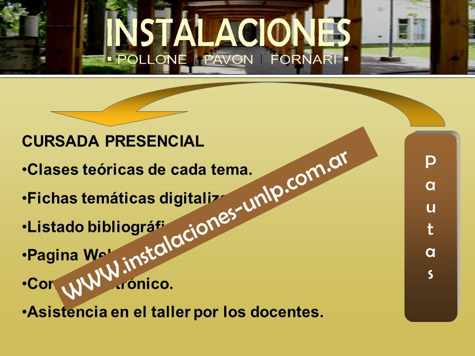 WWW.instalaciones-unlp.com.ar P a u t s CURSADA PRESENCIAL