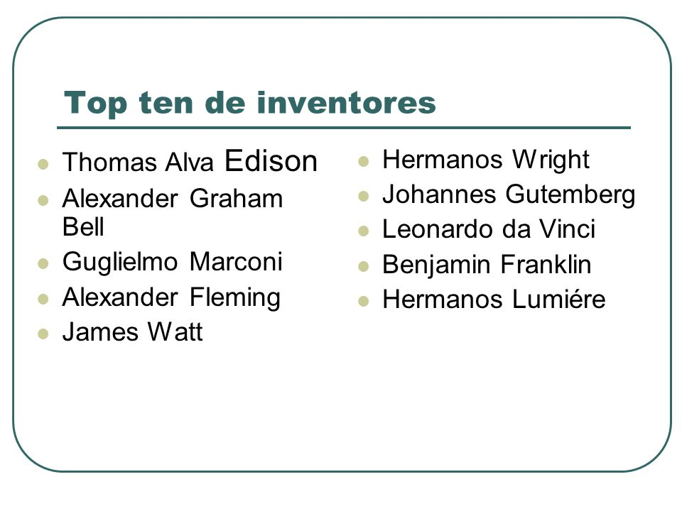 Top ten de inventores Thomas Alva Edison Alexander Graham Bell