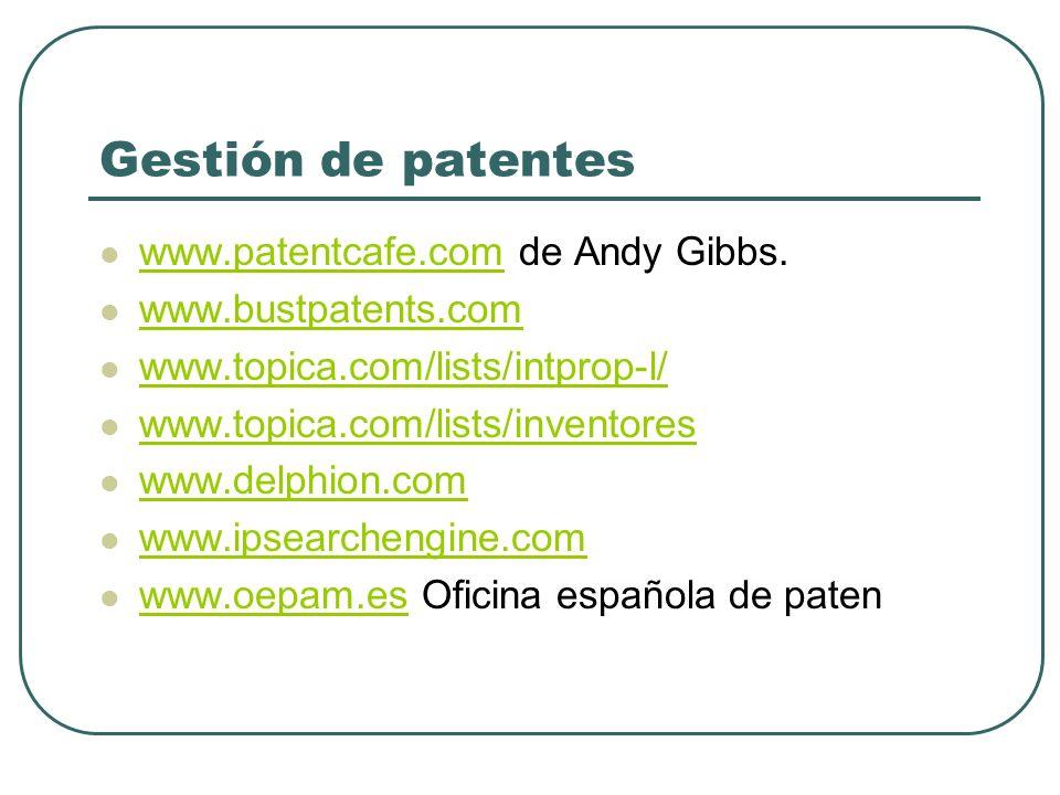 Gestión de patentes www.patentcafe.com de Andy Gibbs.