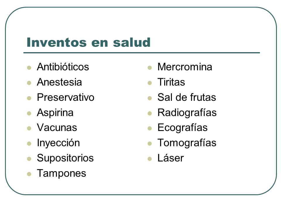 Inventos en salud Antibióticos Anestesia Preservativo Aspirina Vacunas
