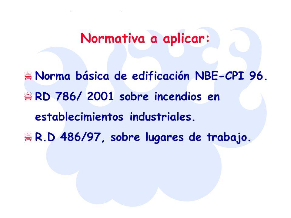 Normativa a aplicar: Norma básica de edificación NBE-CPI 96.