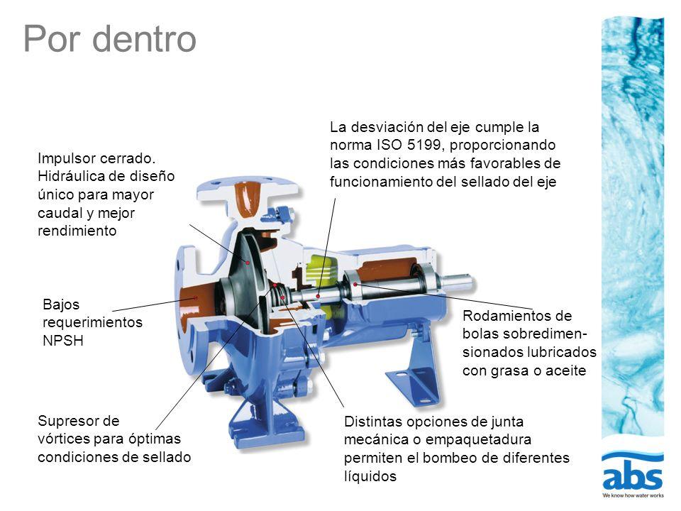 Por dentro La desviación del eje cumple la norma ISO 5199, proporcionando las condiciones más favorables de funcionamiento del sellado del eje.