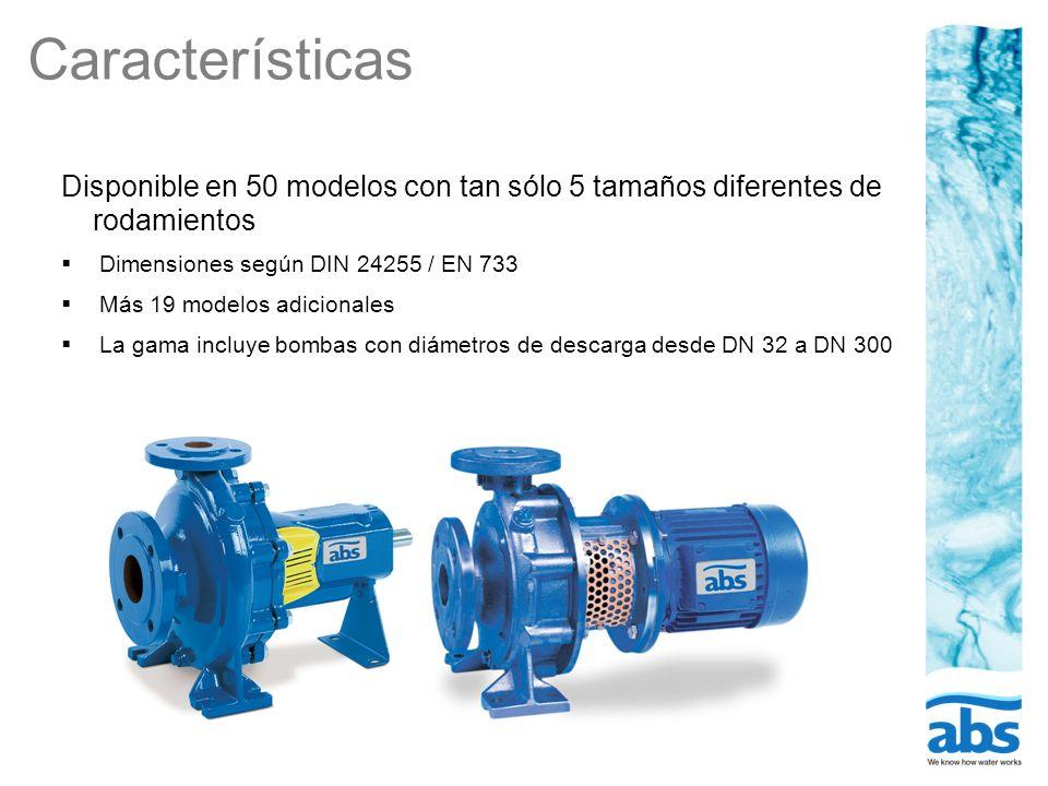 Características Disponible en 50 modelos con tan sólo 5 tamaños diferentes de rodamientos. Dimensiones según DIN 24255 / EN 733.