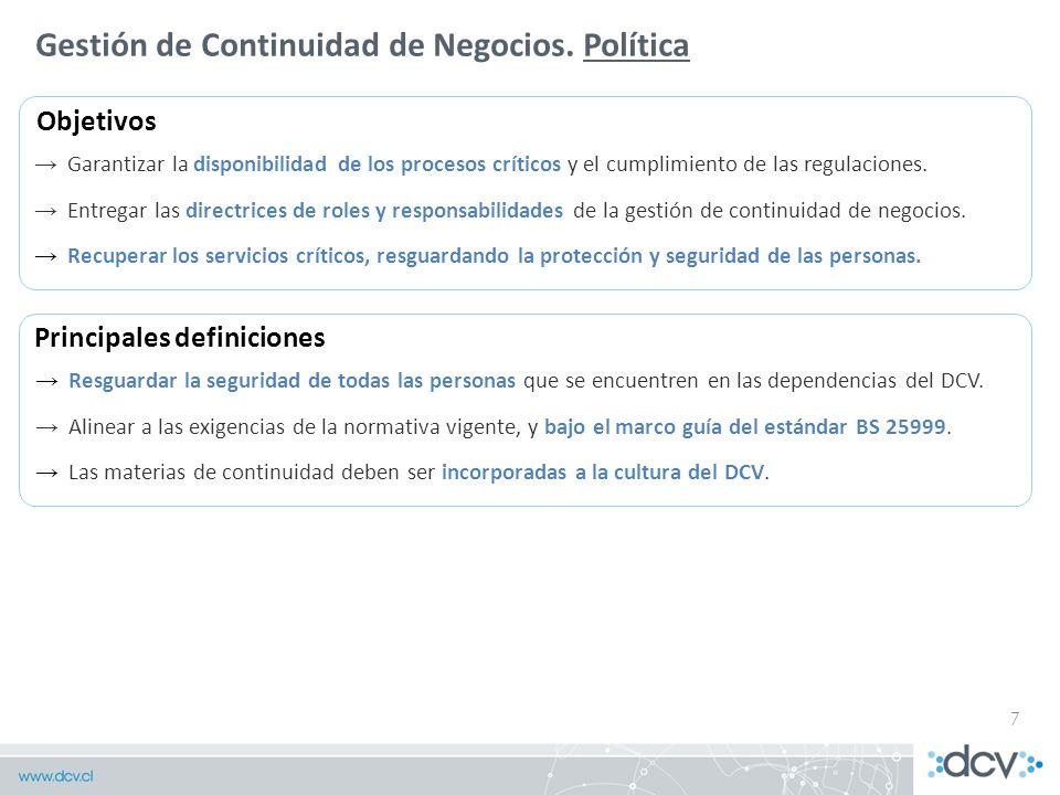 Gestión de Continuidad de Negocios. Política
