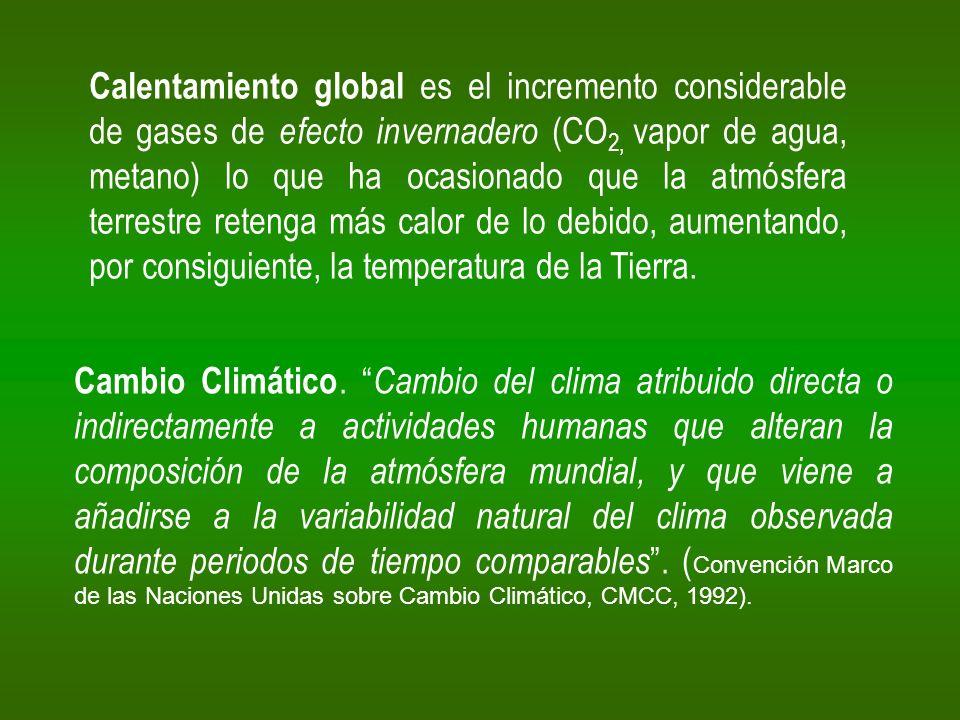 Calentamiento global es el incremento considerable de gases de efecto invernadero (CO2, vapor de agua, metano) lo que ha ocasionado que la atmósfera terrestre retenga más calor de lo debido, aumentando, por consiguiente, la temperatura de la Tierra.