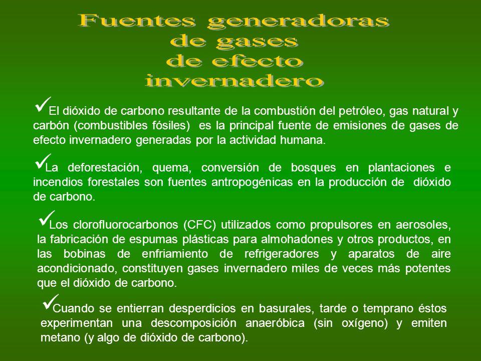 Fuentes generadoras de gases de efecto invernadero