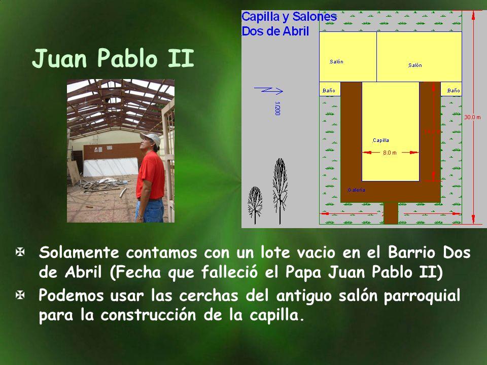 Juan Pablo II Solamente contamos con un lote vacio en el Barrio Dos de Abril (Fecha que falleció el Papa Juan Pablo II)
