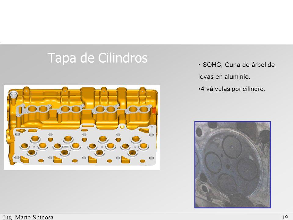 Tapa de Cilindros SOHC, Cuna de árbol de levas en aluminio.