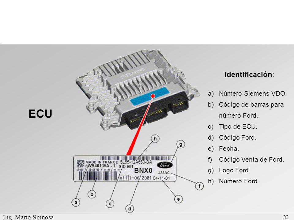 ECU Identificación: Número Siemens VDO.