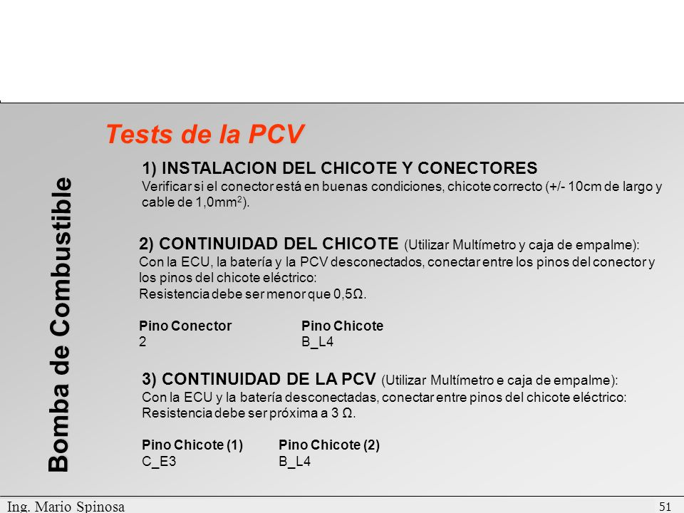 Tests de la PCV Bomba de Combustible