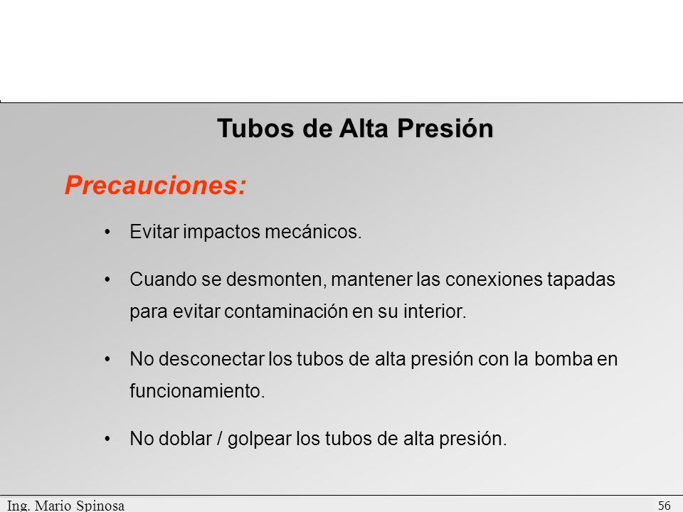 Tubos de Alta Presión Precauciones: Evitar impactos mecánicos.