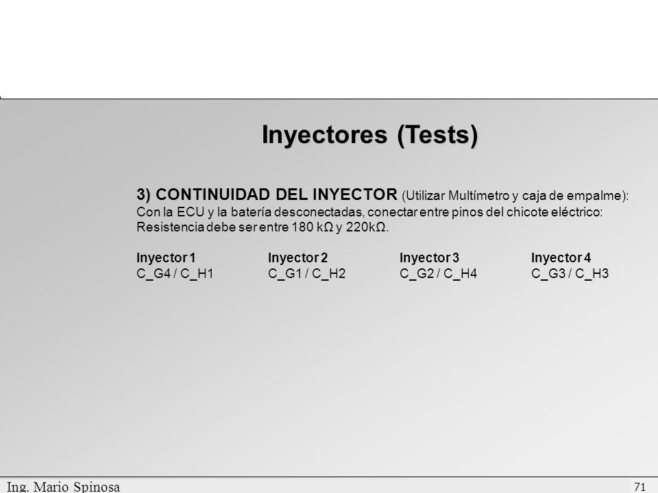 Inyectores (Tests) 3) CONTINUIDAD DEL INYECTOR (Utilizar Multímetro y caja de empalme):