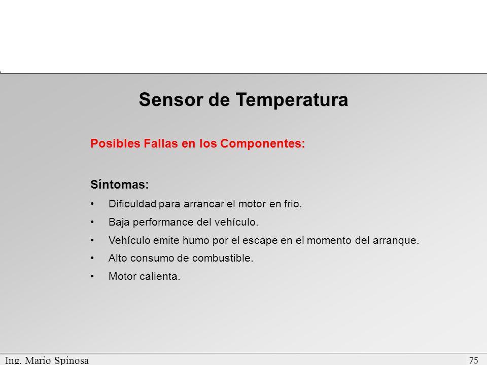Sensor de Temperatura Posibles Fallas en los Componentes: Síntomas: