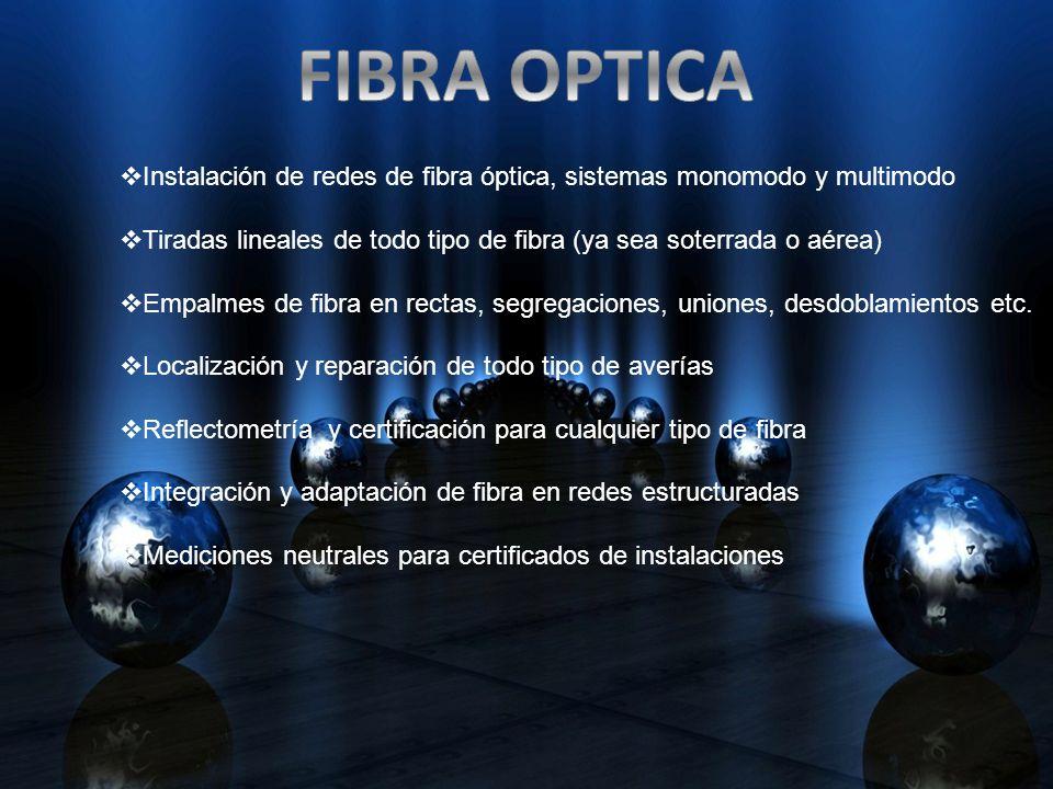 FIBRA OPTICA Instalación de redes de fibra óptica, sistemas monomodo y multimodo. Tiradas lineales de todo tipo de fibra (ya sea soterrada o aérea)