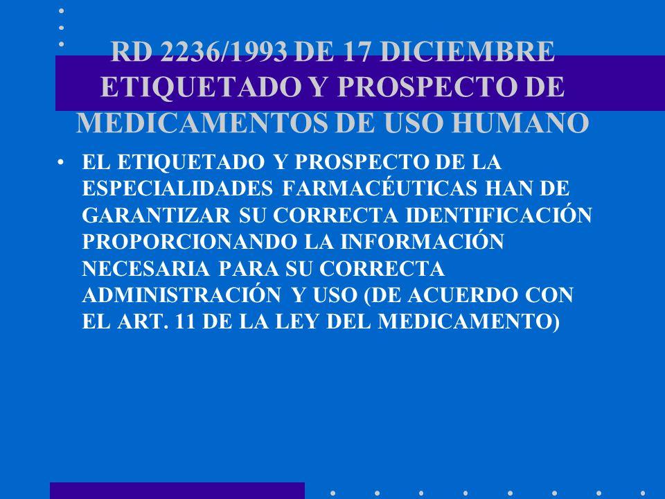 RD 2236/1993 DE 17 DICIEMBRE ETIQUETADO Y PROSPECTO DE MEDICAMENTOS DE USO HUMANO