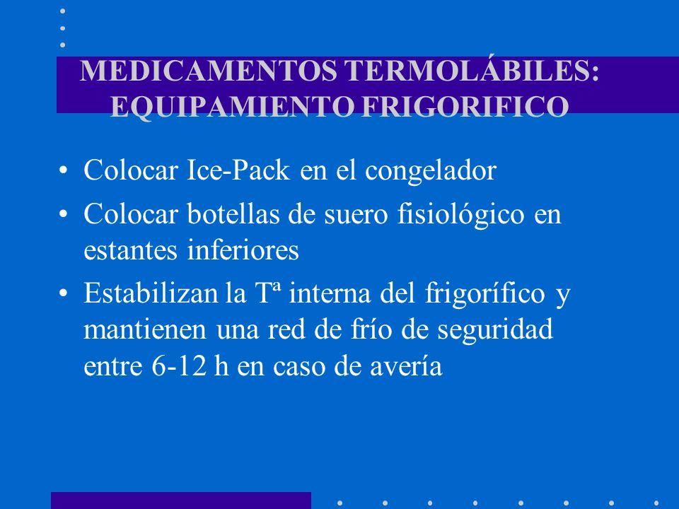 MEDICAMENTOS TERMOLÁBILES: EQUIPAMIENTO FRIGORIFICO