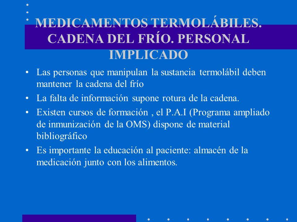 MEDICAMENTOS TERMOLÁBILES. CADENA DEL FRÍO. PERSONAL IMPLICADO