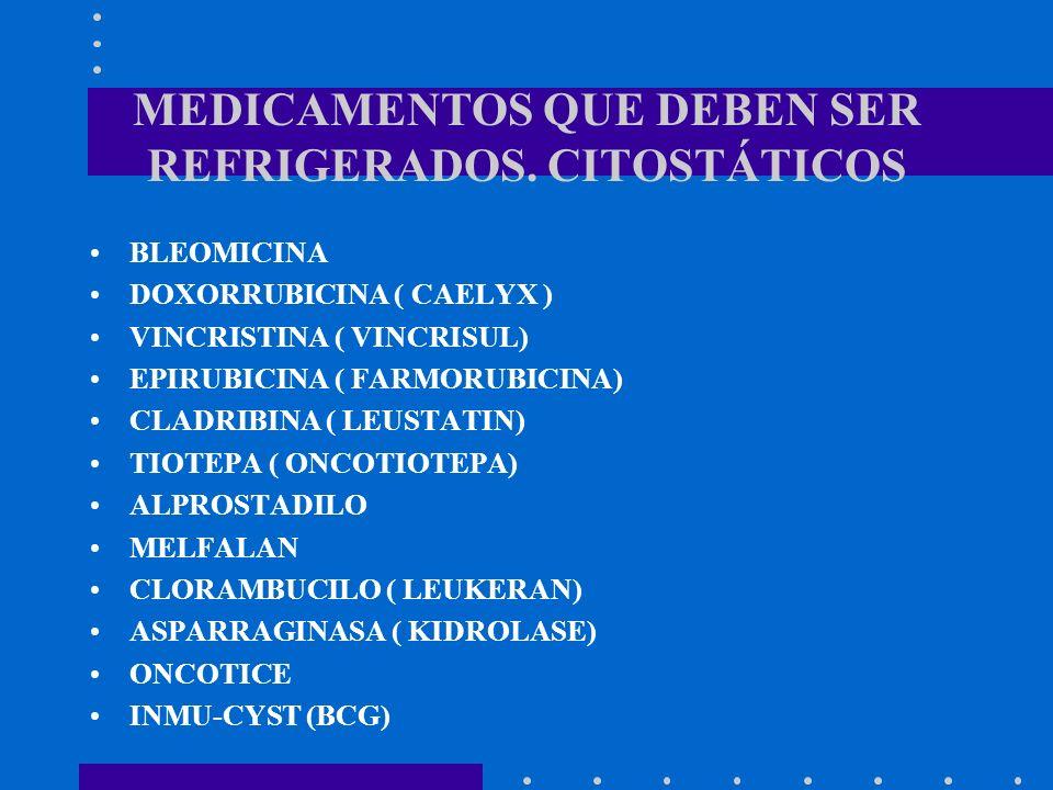 MEDICAMENTOS QUE DEBEN SER REFRIGERADOS. CITOSTÁTICOS