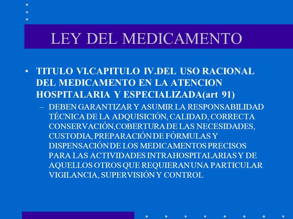 LEY DEL MEDICAMENTO TITULO VI.CAPITULO IV.DEL USO RACIONAL DEL MEDICAMENTO EN LA ATENCION HOSPITALARIA Y ESPECIALIZADA(art 91)