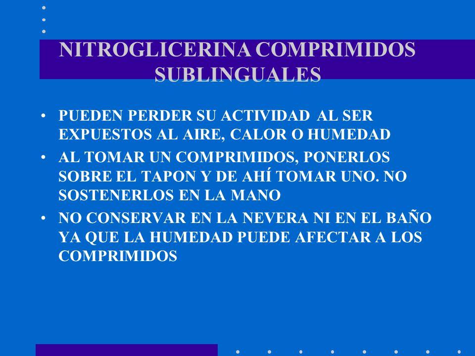 NITROGLICERINA COMPRIMIDOS SUBLINGUALES