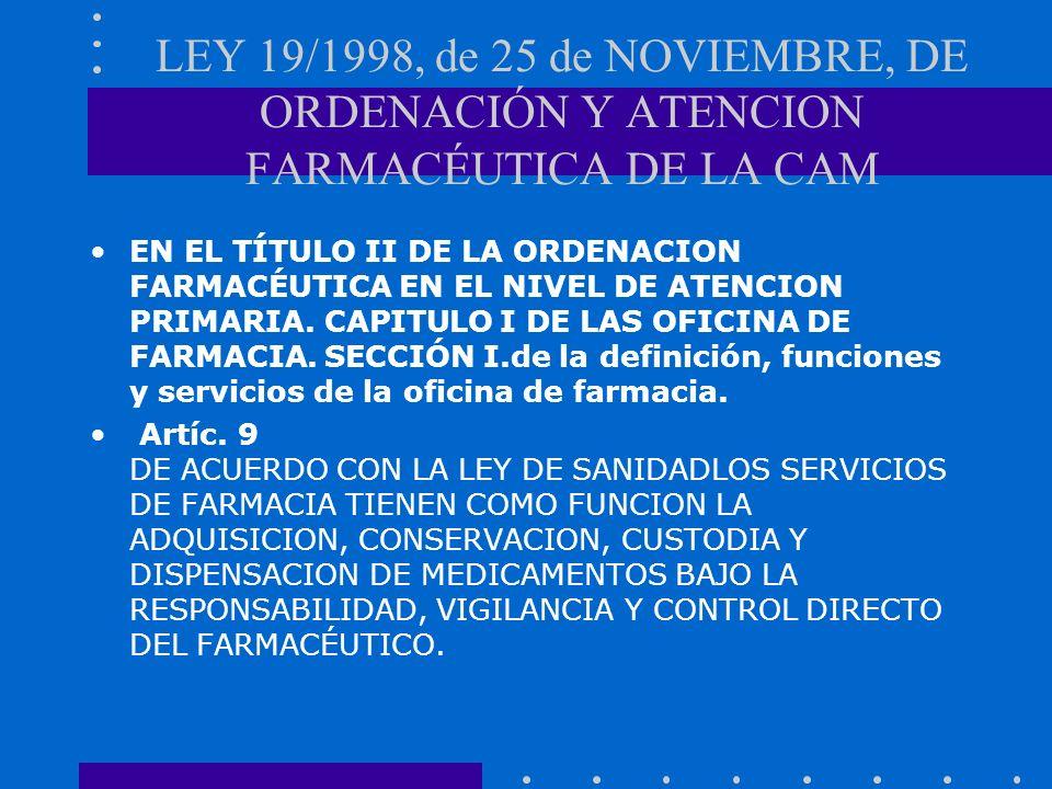 LEY 19/1998, de 25 de NOVIEMBRE, DE ORDENACIÓN Y ATENCION FARMACÉUTICA DE LA CAM