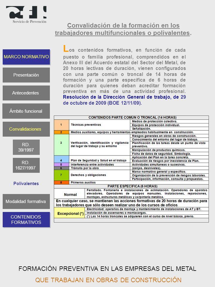 Convalidación de la formación en los trabajadores multifuncionales o polivalentes.