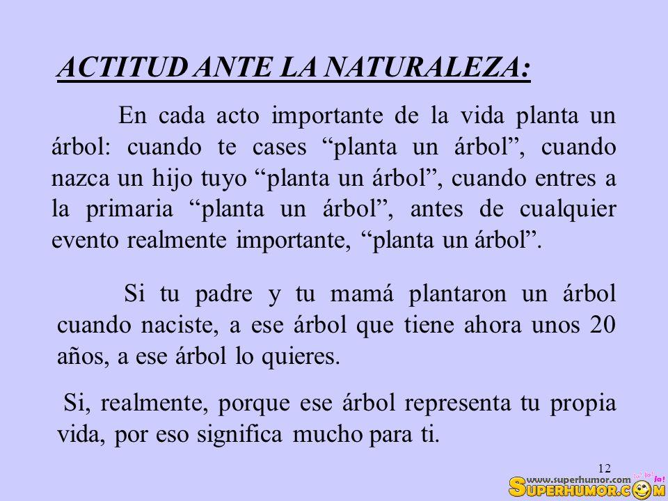 ACTITUD ANTE LA NATURALEZA: