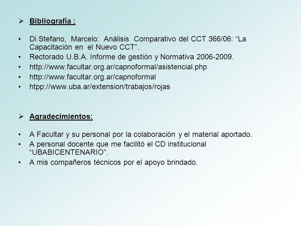 Bibliografía : Di Stefano, Marcelo: Análisis Comparativo del CCT 366/06: La Capacitación en el Nuevo CCT .